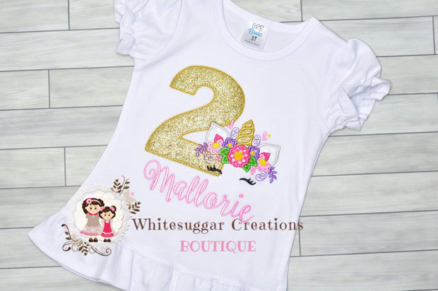 Golden Unicorn Birthday Girl Shirt