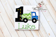 1st Birthday Dump Truck Shirt - Baby Boy First Birthday Bodysuit - Blue Green Dump Truck Embroidered Personalized Applique Monogram Bodysuit
