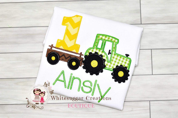 Boy Tractor Birthday Embroidered Shirt