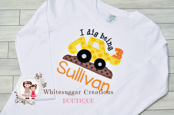I Dig Being 3 Applique Shirt Whitesuggar Creations Boutique