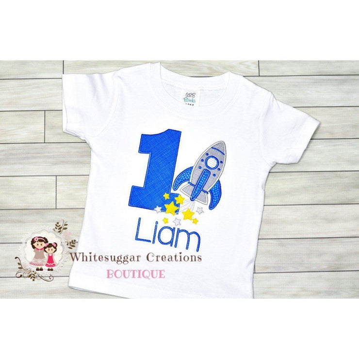 Boy Rocket Birthday Shirt Whitesuggar Creations Boutique