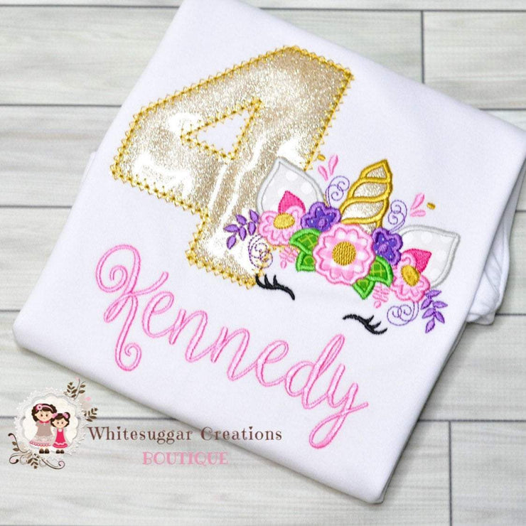 Unicorn Birthday Shirt Whitesuggar Creations Boutique
