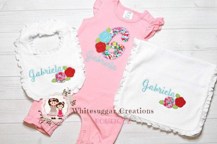 Girl Rose Initial Romper, Bib and Burp Cloth Gift Set Whitesuggar Creations Boutique