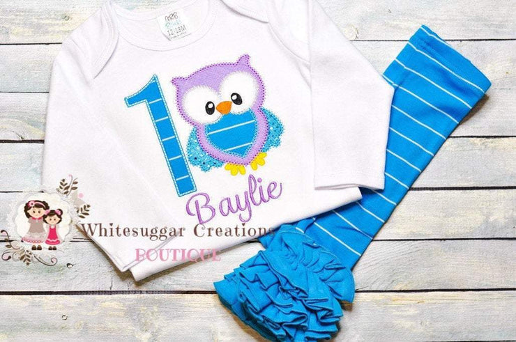 Girl Owl Embroidered Birthday Outfit Whitesuggar Creations Boutique