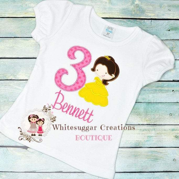 Belle the Beauty Princess Birthday Shirt Whitesuggar Creations Boutique