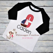 Sail Boat Birthday Raglan T-Shirt Whitesuggar Creations Boutique