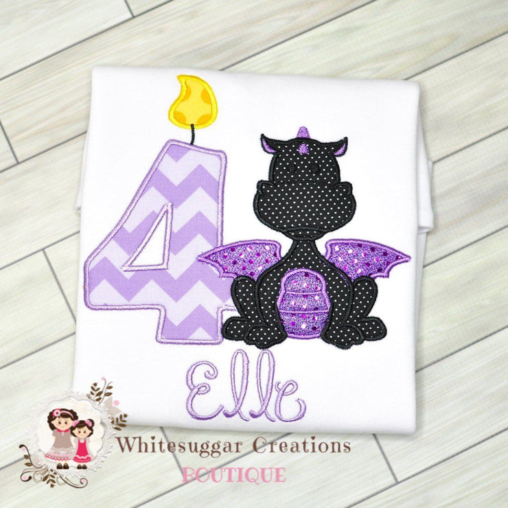 Dragon Embroidered Birthday Shirt for Girls Whitesuggar Creations Boutique