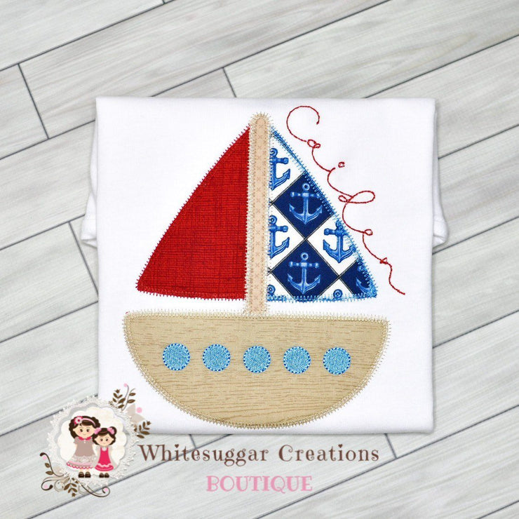 Sail Boat T-Shirt Whitesuggar Creations Boutique