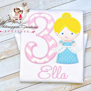 Baby Girl Princess Cinderella Embroidered Birthday Shirt Whitesuggar Creations Boutique