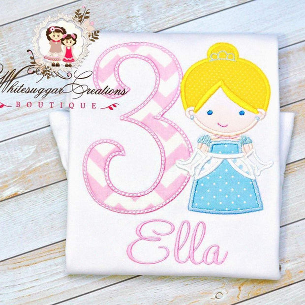 Baby Girl Princess Cinderella Embroidered Birthday Shirt