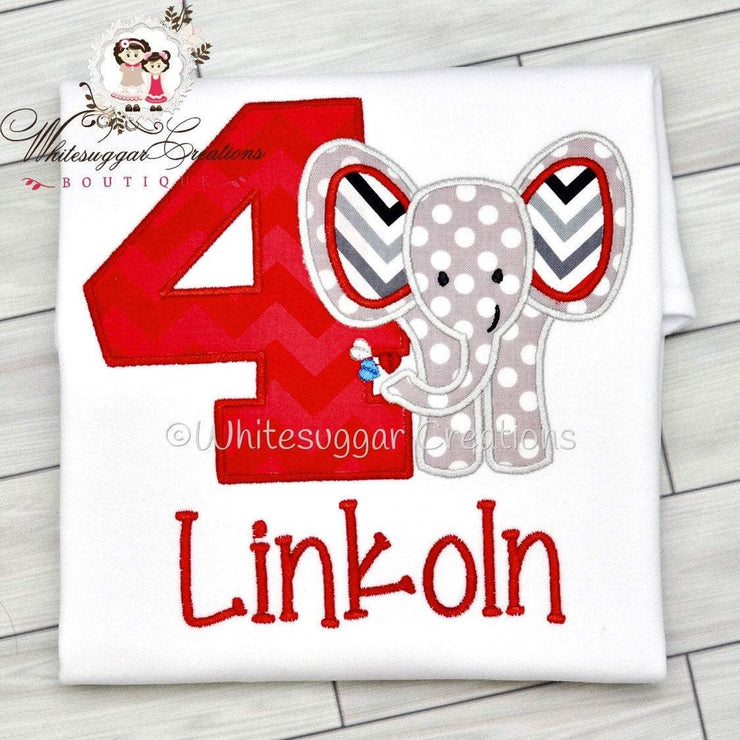 Elephant Birthday Embroidered Shirt Whitesuggar Creations Boutique