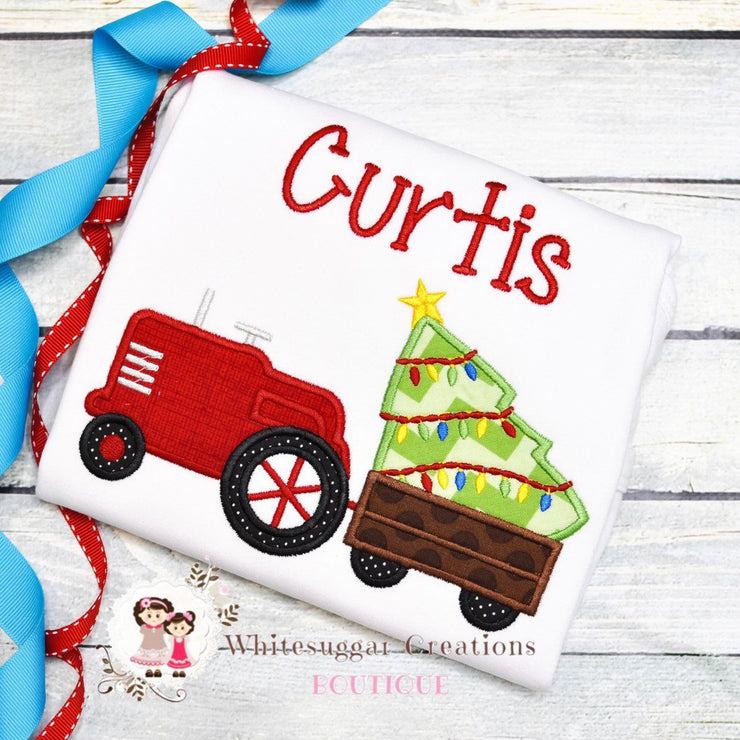 Christmas Tractor Embroidered Shirt for Boys Whitesuggar Creations Boutique
