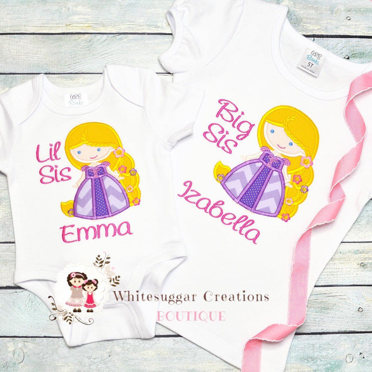 Princess Rapunzel Big Sister Shirt Whitesuggar Creations