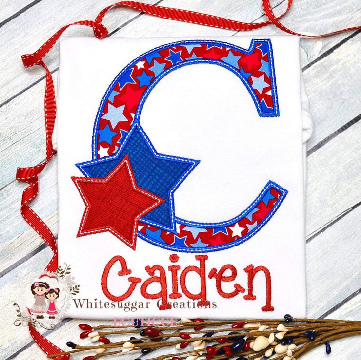 Patriotic Initial with Stars T-Shirt Whitesuggar Creations Boutique