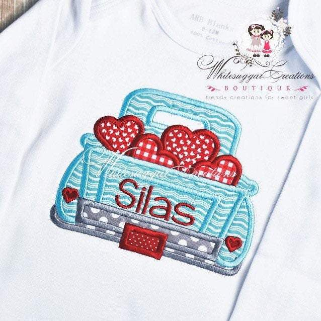 Valentines Day Old Truck Shirt with Hearts Whitesuggar Creations Boutique