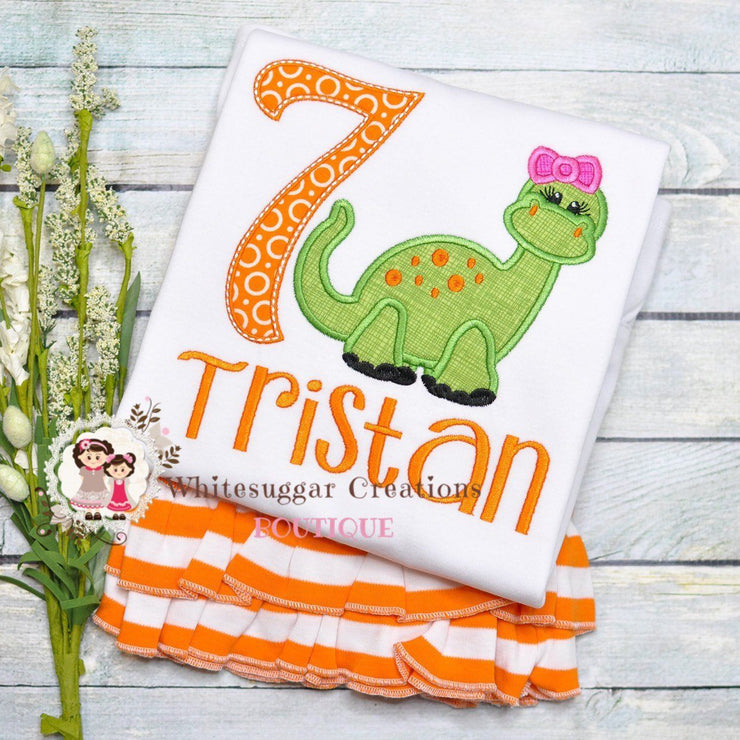 Dinosaur Birthday Shirt for Girls Whitesuggar Creations Boutique