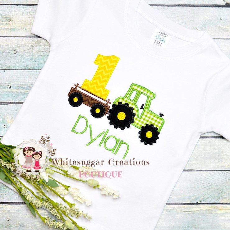 Tractor Birthday Embroidered Shirt for Boys