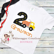 Dump Truck Birthday Shirt or Bodysuit for Boy Whitesuggar Creations Boutique