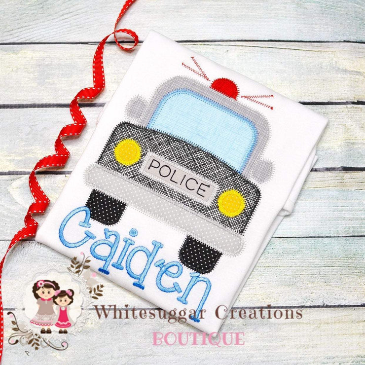 Police Car Embroidered Shirt Whitesuggar Creations Boutique