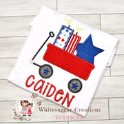 Patriotic Wagon with Stars and Firecracker T-Shirt Whitesuggar Creations Boutique