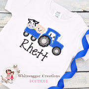 Farm animals on Tractor Shirt for Boys Whitesuggar Creations Boutique