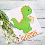 Back to School Dinosaur Reading Shirt Whitesuggar Creations Boutique
