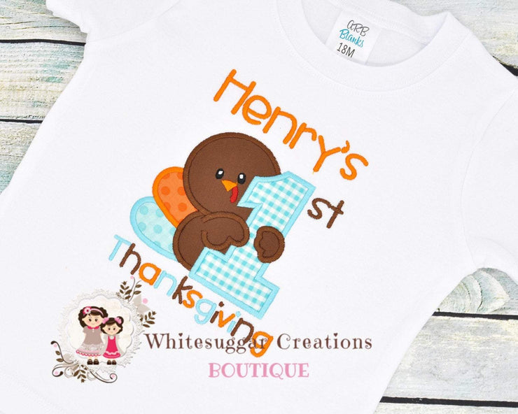 Thanksgiving Turkey Shirt for Boys Whitesuggar Creations Boutique