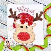 Christmas Reindeer Girl Shirt Whitesuggar Creations Boutique