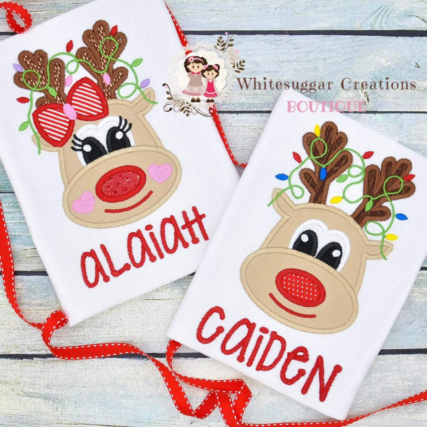 Christmas Reindeer with Lights Shirt for Boys Whitesuggar Creations Boutique