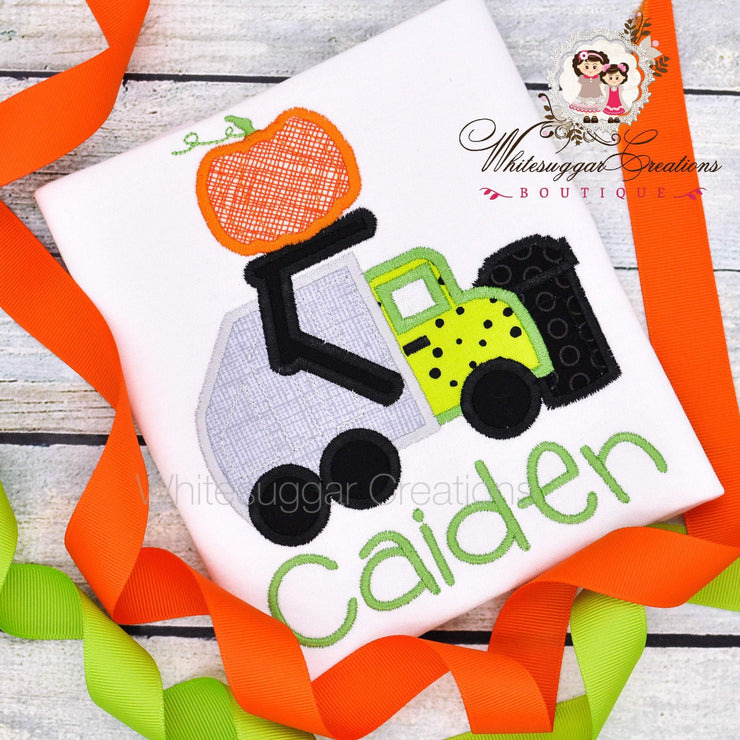 Halloween Garbage Truck with Pumpkin Outfit Whitesuggar Creations Boutique