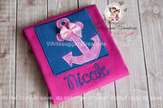 Girls Anchor Box Embroidered Shirt Whitesuggar Creations