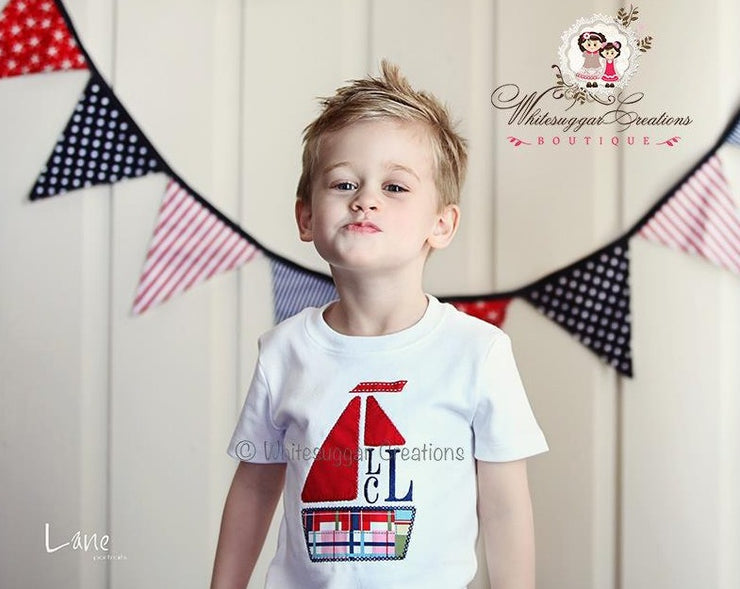 Boy Sail Boat T-Shirt Whitesuggar Creations Boutique