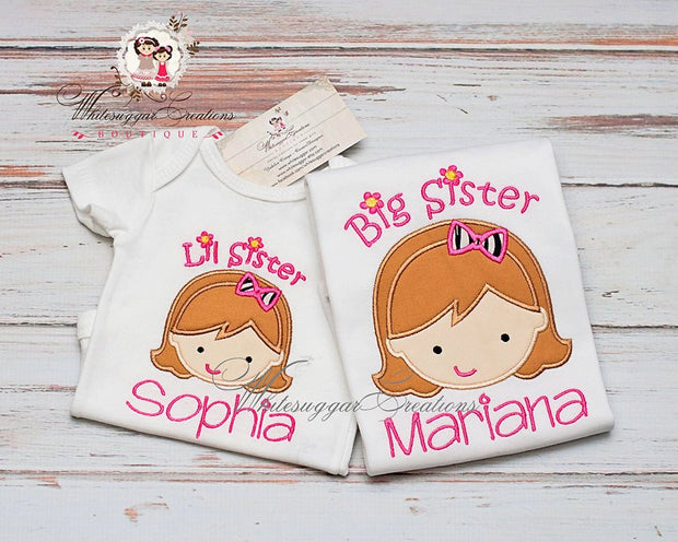 Custom Personalized Siblings Sisters Shirts Whitesuggar Creations