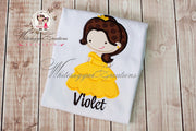 Cutie Princess as Belle the Beauty Personalized Shirt Whitesuggar Creations
