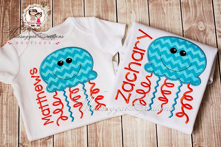 Aqua and Orange Jelly Fish Shirt Whitesuggar Creations