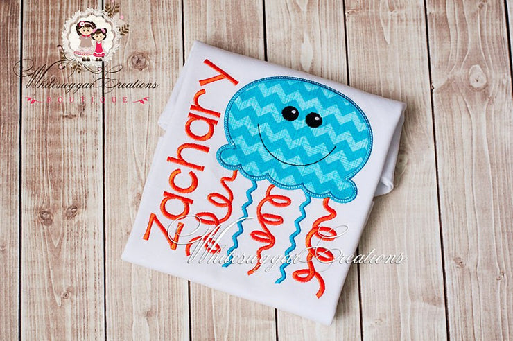 Aqua and Orange Jelly Fish Shirt - Whitesuggar Creations Boutique