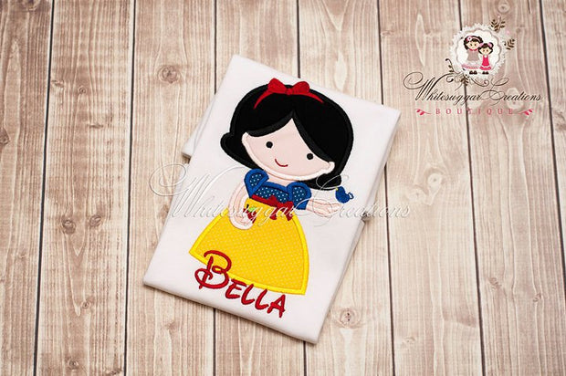 Snow White Princess Girl Shirt Whitesuggar Creations