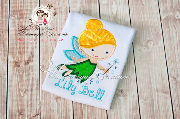 Fairy Princess Bell Embroidered Shirt Whitesuggar Creations