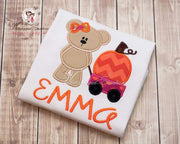 Personalized Girl Bear with Pumpkin Wagon Shirt Whitesuggar Creations Boutique
