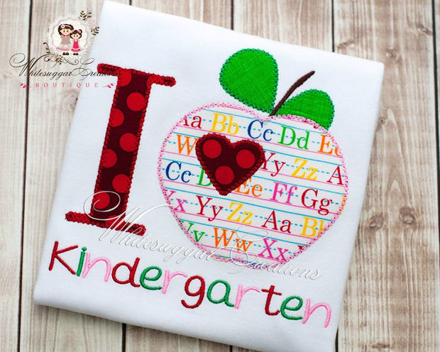 Back To School I heart Pre-K, Kindergarten, 1st, 2nd, 3rd, 4th Grade Girls Shirts Whitesuggar Creations