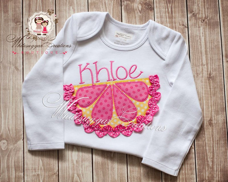 3D Pink Lemonade Embroidered Shirt Girls Shirt Whitesuggar Creations