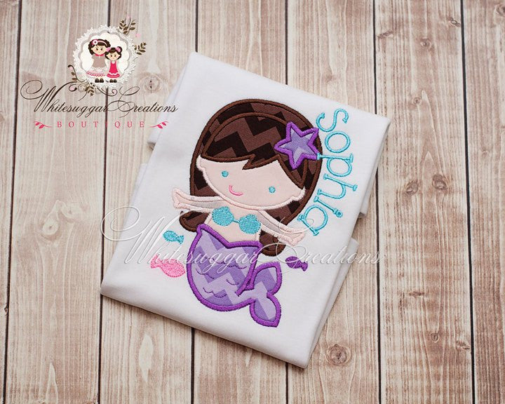 Undersea Mermaid Appliqued Shirt  - Custom Under the Sea Shirt - Undersea Mermaid Party - Whitesuggar Creations Boutique
