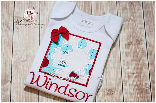 Girls Christmas Snowflake Box Shirt - Whitesuggar Creations Boutique
