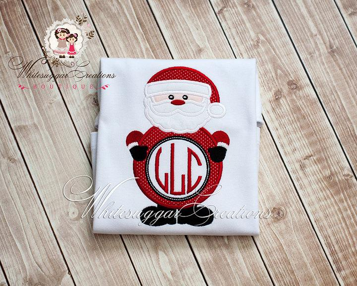 Christmas Santa Monogram Shirt for Boys