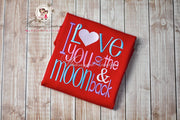 Valentines Day I Love You to the Moon and Back Shirt Girls Shirt Whitesuggar Creations Boutique