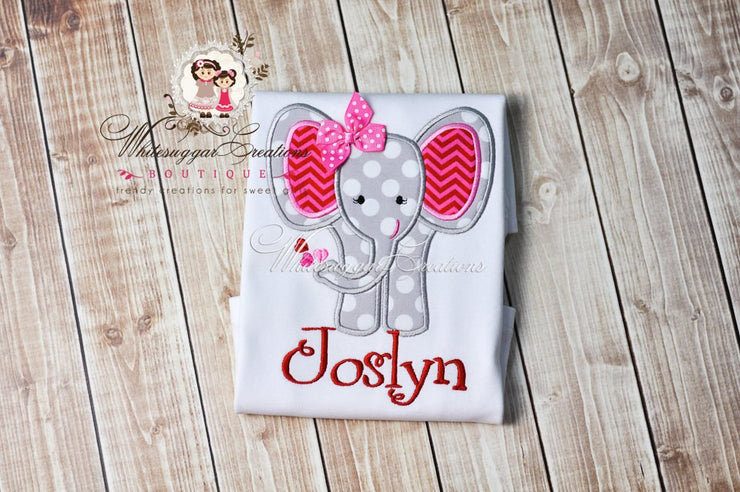 Girls Elephant Shirt - Sweet Heart Elephant Shirt Girls Shirt Whitesuggar Creations Boutique