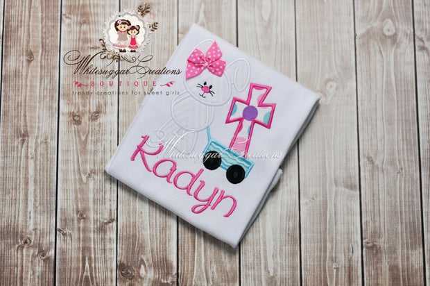 Girl Easter Bunny with Cross Appliquéd Shirt - Whitesuggar Creations Boutique