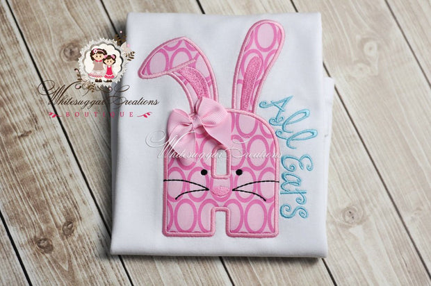 Easter Girly Bunny Alpha Appliqued Shirt - Whitesuggar Creations Boutique