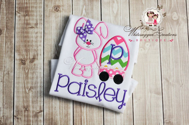 Girly Easter Bunny with Wagon Appliqued Shirt - Whitesuggar Creations Boutique