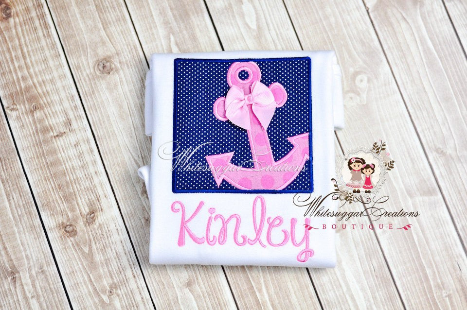Girls Anchor Box Embroidered Shirt - Whitesuggar Creations Boutique